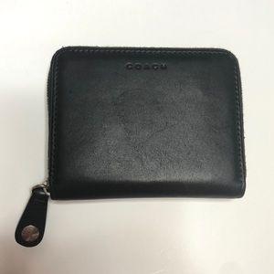 Black COACH leather small zipper wallet